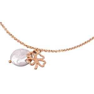 Collar Lotus Silver rosado perla y trébol   1211-1-1