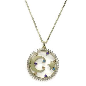 Collar Luna y Estrella de Oro con circonitas y circonitas de Color de 2.10cm de diámetro Never say never