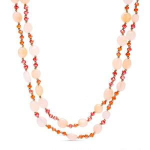 COLLAR LUXENTER PIEDRAS COLOR NUDE Y COLOR CORAL NXA097R73000