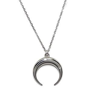 Collar media luna de oro blanco de 18Ktes con un diamante de 0.008cts y cadena forzada de oro blanco Never say never