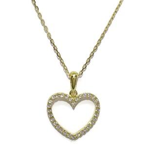 Colgante corazón de oro blanco de 18k con 32 circonitas de la mejor calidad y cadena forzada  oro 18 Never say never