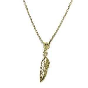 Collar de Oro Amarillo de 18k con Pluma de Oro de 40cm de Largo. Cadena Forzada y Cierre reasa Never say never