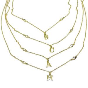 Collar Letra Oro Amarillo Personalizada en Oro de 18k y 2 circonitas de la Mejor Calidad. 45cm Never say never
