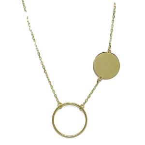 collar de Oro Amarillo de 18k con Karma y circulo de Oro Liso y Cadena Forzada Never say never