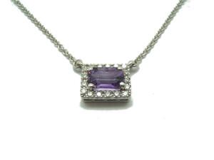 Collar Oro blanco Amatista y Diamantes C-183 Amatista B-79
