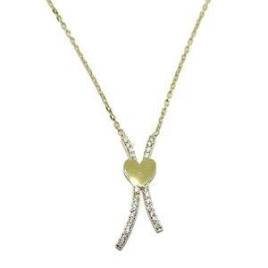 Collar de oro amarillo de 18ktes y circonitas, solo para enamorados todo el año! Never say never