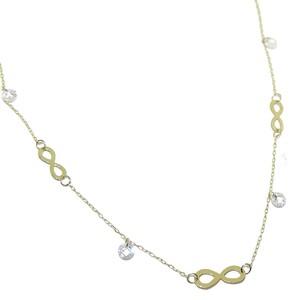 Collar de oro amarillo de 18 Ktes con 3 infinitos y circonitas. 45cm Never say never
