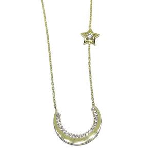 Collar Oro Luna y Estrella con circonitas de la Mejor Calidad y Cadena Forzada de 45cm Never say never
