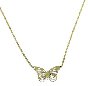 Collar de oro amarillo de 18ktes con mariposa calada. 45cm Colección enamorados! Never say never