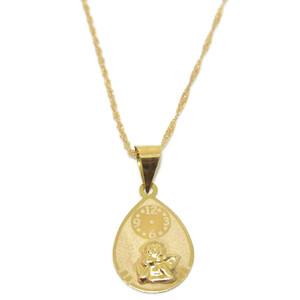 Collar para bebé de oro amarillo de 18ktes con Angelito y reloj. Never say never