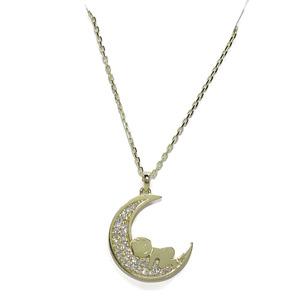 Collar para mamá de Oro y circonitas con bebé en la Luna y Cadena Forzada de 45cm Never say never