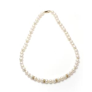 Collar perlas cultivadas 7,5-8 mm, entrepiezas diamantes 0.15 ct en oro 18 kt Cresber