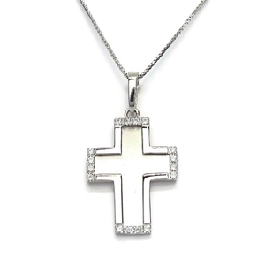 Collar Preciosa cruz de oro blanco de 18Ktes con 16 circonitas especial comunión, 45cm Never say never