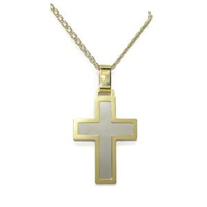 Cruz brillo de oro blanco y oro amarillo de 18k con cadena doble hilo de 50cm. Especial comunión Never say never