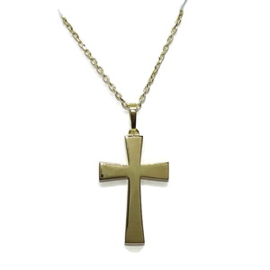 Cruz bizantina de Oro Amarillo Mate y Brillo de 18k con Cadena Forzada de 50cm  Never say never