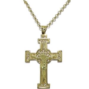 Cruz de filigrana con Cristo hecha a mano de oro amarillo macizo Never say never