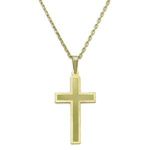 Cruz de oro amarillo de 18 ktes brillo y mate con cadena forzada de oro amarilleo de 18ktes 50 cm Never say never