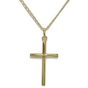 Cruz de Oro Amarillo de 18K con Cadena Doble Hilo de Oro Amarillo de 18K 50cm. Never say never