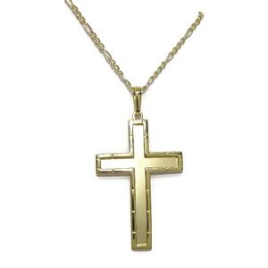 Cruz de oro amarillo de 18k  mate y brillo con cadena 3x1 de 50cm. Especial comunion Never say never