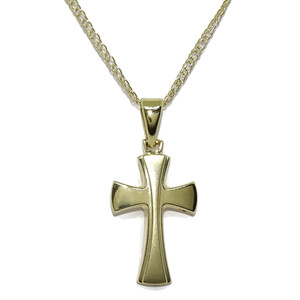 Cruz de Oro Amarillo de 18k Mate y Brillo Especial comunion con Cadena Doble barbada de 50cm. Never say never