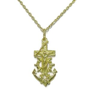 Cruz marinera de oro amarillo de 18kts de 2.50cm de alto sin el asa por 1.30cm de ancho y cadena oro Never say never
