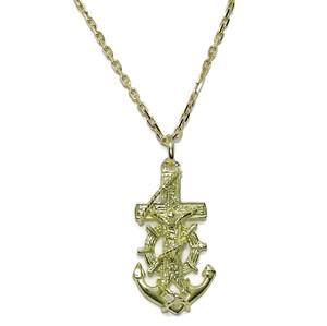 Cruz Marinera de Oro Amarillo de 18kts de 2.80cm de Alto sin el asa y Cadena Maciza Never say never