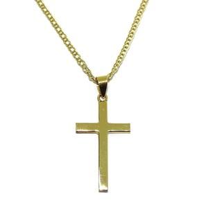 Cruz de oro amarillo de 18Ktes con cadena doble hilo de oro amarillo de 18Ktes 50cm Never say never