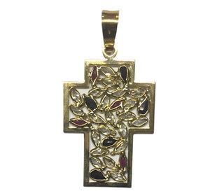 Cruz oro ley piedras semipreciosas