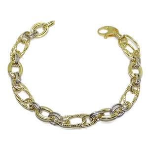 Espectacular Pulsera de Oro Amarillo y Blanco de 18k para Mujer de 19.00 cm  Never say never