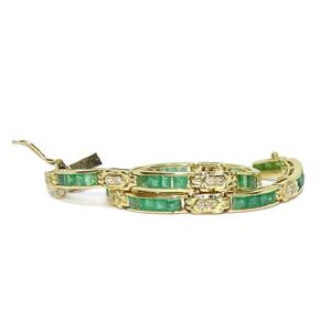 Espectacular pulsera para mujer de oro amarillo de 18k con esmeraldas y diamantes Never say never