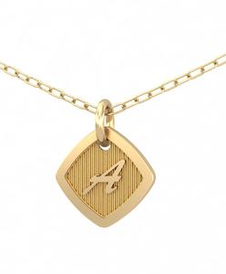 Collar Gargantilla en Oro 18 Kt con Inicial en relieve y Diamante 0,01 ct Cresber