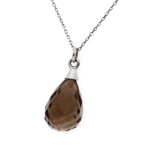 Gargantilla oro blanco 750 milésimas/18 kt con Collar de cuarzo fumé talla pera facetado de 11,55 mm x 5,90mm, longitud de la cadena 41,5cm