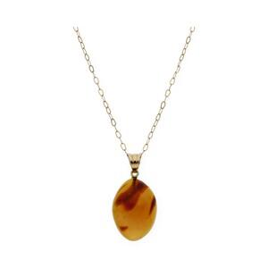 Gargantilla realizada en oro amarillo de 750 milésimas/18 kt con Collar de ámbar en forma oval, longitud de la cadena 42,00cm.