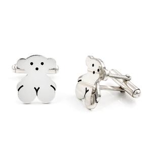 Gemelos de plata con motivo del oso
