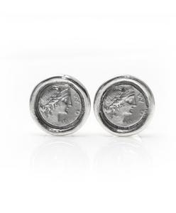 Gemelos de Plata de Ley, moneda romana con acabado satinado. Cresber