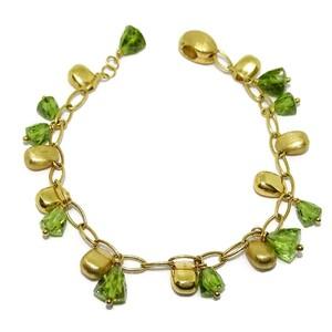 Impresionante pulsera de oro amarillo de 18Ktes y piedra fina de color 19.5cm Never say never