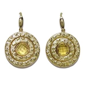 Impresionantes Pendientes de oro amarillo de 18k con piedra de color, grandes con cierre gancho.7.8 Never say never