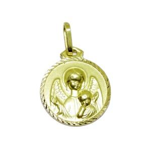 Medalla de oro amarillo de 18Ktes Angel de la Guarda con niño de 1.4cm de diametro. Never say never