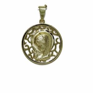 Medalla de oro amarillo de 18Ktes Virgen Niña calada de 18mm Never say never