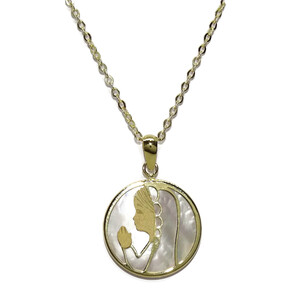 Medalla de Oro de 18k y nácar con la Virgen niña de 17mm y Cadena Forzada picada de 40cm Todo Oro 18 Never say never