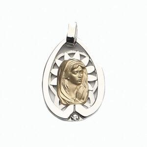 Medalla Oro 18k Plata y Brillante  303-2 Finor