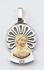 Medalla Oro 18k Plata y Brillante  305-2 Finor