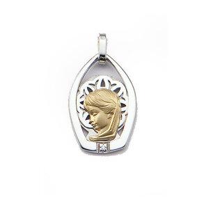 Medalla Oro 18k Plata y Brillante  306-1 Finor