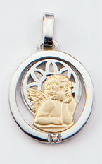 Medalla Oro 18k Plata y Brillante  300-2A Finor