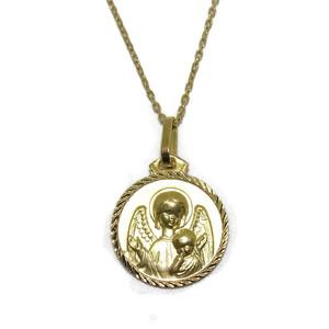 Medalla para bebé de oro amarillo de 18ktes de 1.4cm de diametro y cadena de 40cm Never say never