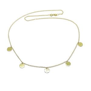 Moderno Collar de Oro Amarillo de 18k con Cadena Bilbao y 5 chapitas de Oro de 6mm Never say never