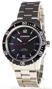 Reloj Wenger Acero esfera negra saetas florescente, cristal zafiro 01.0851.122
