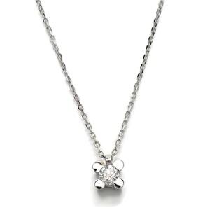 NEVER SAY NEVER collar con un diamante de 0.12cts y oro blanco de 18Ktes. 40cm