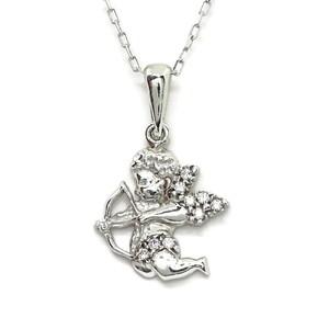 NEVER SAY NEVER Collar de oro blanco de 18ktes con Cupido de oro blanco de 18Ktes.40cm