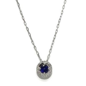 NEVER SAY NEVER Precioso collar con 0.06cts de diamantes y un zafiro de 4mm oro 18Ktes. 40cm
